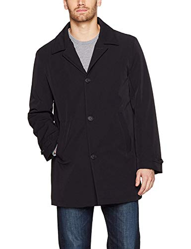 3/4 Length Raincoat - Calvin Klein Men's MEELR7AT0008 Single Breasted Raincoat 3/4 Length Jacket - Black - 48R