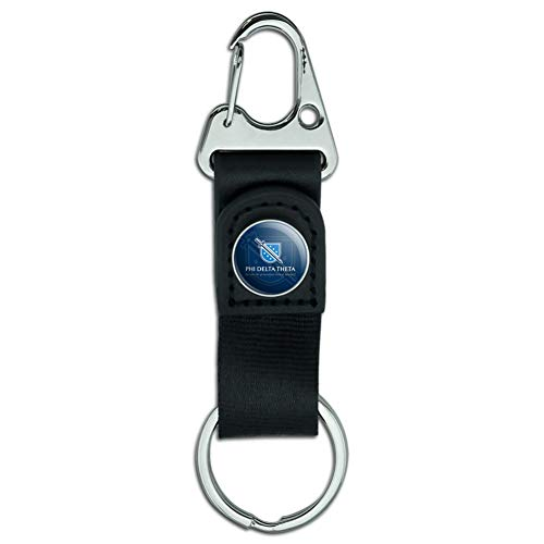 Phi Delta Theta Fraternity Logo Officially Licensed Belt Clip-On Carabiner Leather Fabric Keychain Key Ring