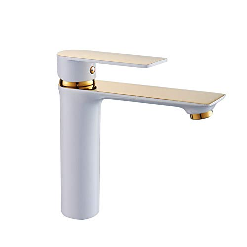 (Waterfall Basin Sink Mixer Tap,Paint Black and White Gold Basin Faucet Copper Bathroom Under Counter Basin Taichung Basin Wash Basin Hot and Cold Water Faucet Single Hole)