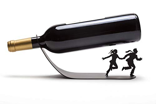 Artori Design Wine for Your Life | Black Metal Wine Bottle Holder | Special Wine Bottles Rack | Unique Gift for Wine Lovers | Vino Accessories | Humorous Dinning Table Decoration