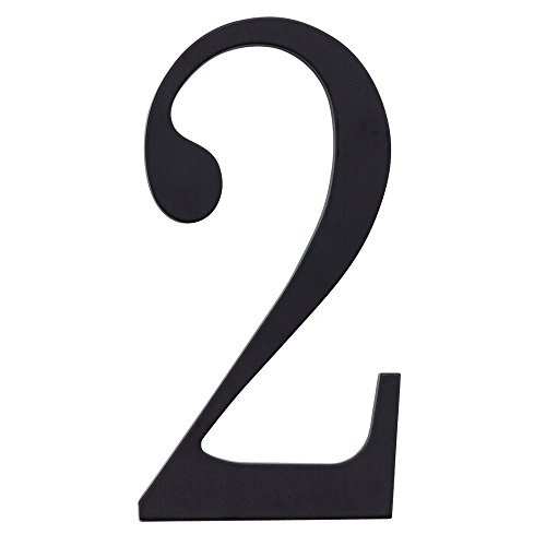 Atlas Homewares TRN2-BL 6-Inch The Traditionalist House Number-2, Matte Black (Knocker Surface Door Mount)