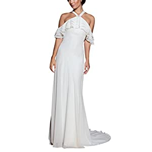 2e89bbde9016 Doramei Women s Bridal Gown Sweep Train Cold Shoulder Halter Chiffon  Pleated Sexy Wedding Dress For Bride 2018 Ivory 12