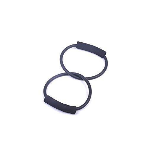 PyLios Light TPR Double Rings Resistance Band Exercise Cords for Yoga Workout,Body Building,Home Gym [ Black ] (Band Double Tube Resistance)