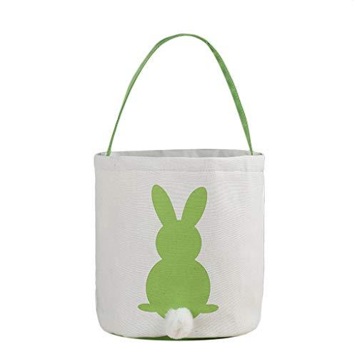 Easter Bunny Bag Easter Candy Cloth Bag Rabbit Ears Design Easter Eggs Gift Basket for Kids (Green)