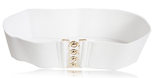 Modeway Women 3inch Fashion Wide Belt Elastic Stretch Waist Belt , Metal Buckle Waistband (M-L, White + Gold)A8-2