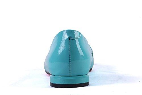 Patent Shoes Metal Heels BalaMasa Buckles Blue Pumps Leather Womens Low Studded Rhinestones Mule twwx8gPq