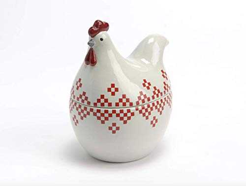 Small White Hen Shaped Ceramic Jar Canister with Red Accents