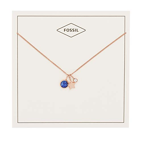 Fossil Women's Star and Lapis Necklace, Rose Gold, One Size -
