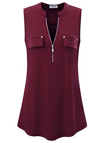 - Bulotus Women's V-Neck Casual Tunic Tank Tops Zipper Sleeveless Blouse Shirt Wine