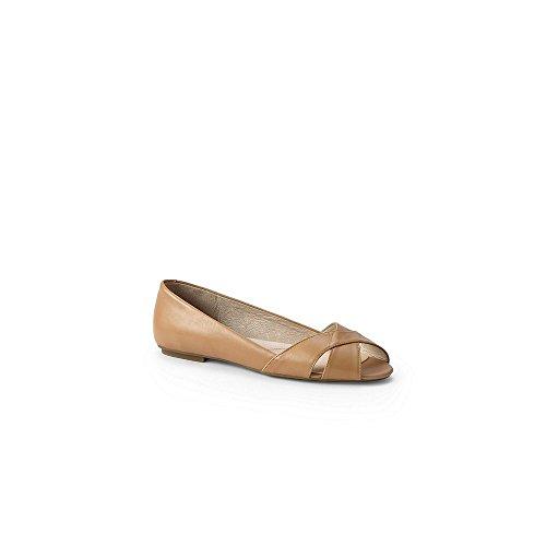 Lands' End Women's Open Toe Flat Shoes, 8, Classic Tan