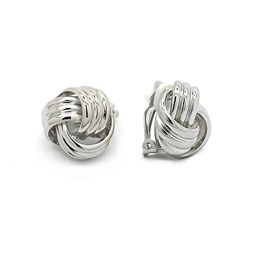 (Sparkly Bride Love Knot Clip On Earrings Rhodium Plated Women Fashion)