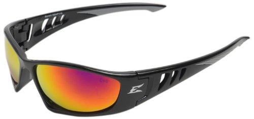 - Edge Eyewear SBAP119 Baretti Safety Glasses, Black with Aqua Precision Red Mirror Lens
