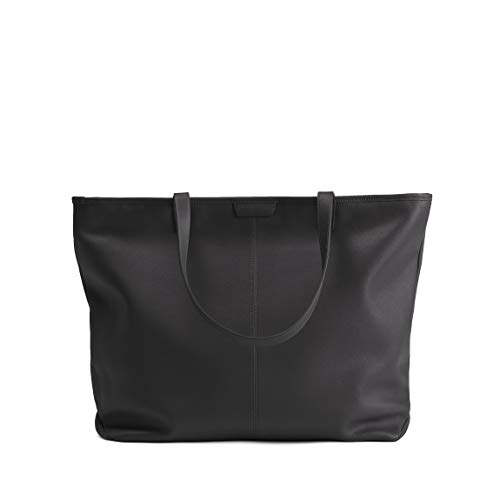 Large Zippered Downtown Tote - Full Grain Leather - Black Onyx ()