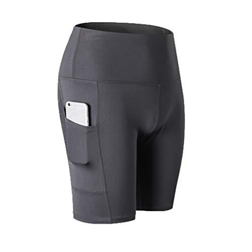 - TOTOD Yoga Pants Women's High Waist Shorts Abdomen Control Training Running Leisure Elastic Capris with Pockets Gray