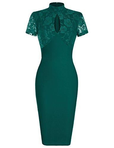 donna corti vestito abito 1950 Green Vestiti MUXXN Deep anni pizzo eleganti 1930 Cocktail UX8Bw1