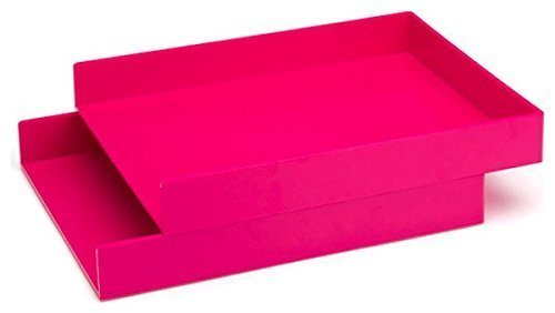 Stackable Pink - Poppin Stackable Inboxes Hot Pink Letter Trays