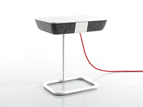 Conmoto Pad Box Metall - Beistelltisch - grauer Formfleece - Platte weiss - ohne Ladefunktion