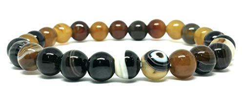 ISSUWA Gemstone Bead Bracelet Men Women Semi Precious Natural Stone Beaded 8mm Elastic Bracelet Healing Jewelry (Brown Banded -