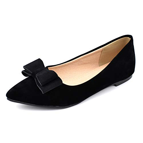 100FIXEO Women Pointy Toe Cute Bowknot Comfort Slip On Ballet Flats Shoes (10 M US, Suede Black)