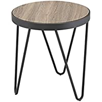 ComfortScape Round Coffee End Table for Living Room, Weathered Gray Oak