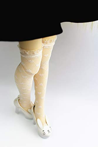 HYCY BJD Pair of Fashion White Lace Heart Over The Knee Fishnet Stockings Socks for 1/3 1/4 1/6 BJD SD Dolls (1/6)