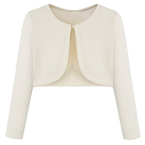 Sweater Off Cardigan White (Bonny Billy Little Girls' Long Sleeve Lace Bolero Cardigan Shrugs 5-6 Years Off White)