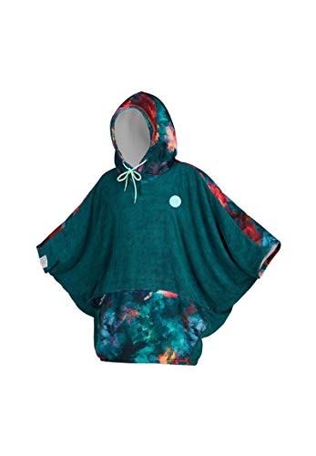 Mystic Womens Poncho or Changing Robe Towel for Beach Watersports & Surfing – Change Robe – Teal – Large fold hood