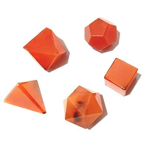 Asfak Agate Red Carnelian Stones Sacred Geometry Sets Gemstone Platonic Solid Top Grade Quality Merkaba Star