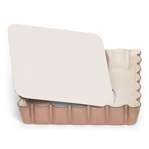 Patisse Mini Square Quiche Pan 4 inch x 4 inch or 10 cm x 10 cm Ceramic Nonstick Coated Off-White/Copper Color 03359