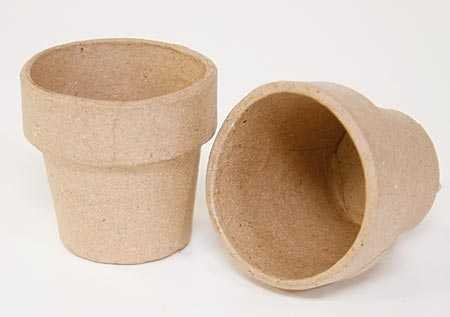 Package of 12 Ready to Decorate Mini Paper Mache Flower Pots for Crafting, Creating and Projects ()