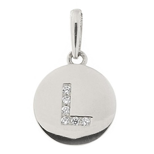14k White Gold Cubic Zirconia Tiny Round Disc Initial Pendant, L, Pendant Only ()