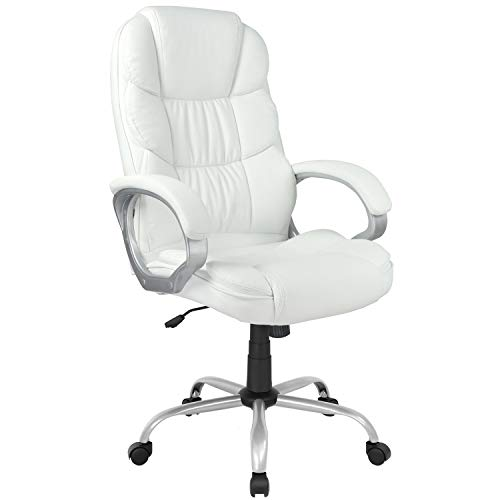 Ergonomic Office Chair Desk Chair Computer Chair with Arms Modern Executive Rolling Swivel Chair for Back Pain Adults Women,White