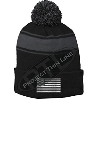 Project Thin Line Black Tactical Subdued American Flag Pom Pom Hat (American Flag Pom Pom Hat)