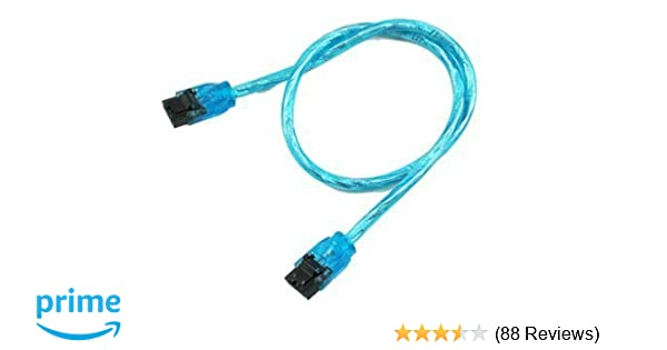 """24/"""" UV Blue SATA III Cable 90 Right Angle to 180 Straight 6GB//Sec HDD SSD Gaming"""