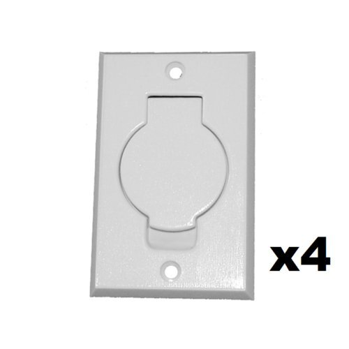 Ximoon (4) White Standard Central Vacuum White Inlet Valves for Vacuflo Beam Central Vac - White Round Door