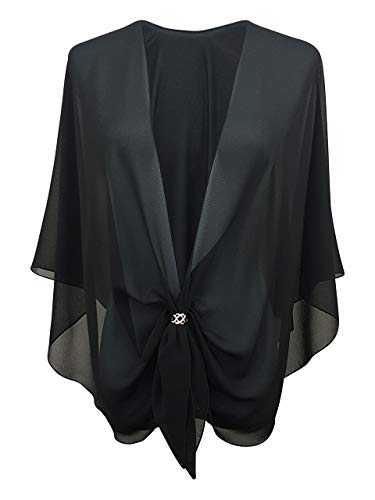 (eXcaped Women's Evening Shawl Wrap Sheer Chiffon Open Front Cape and Silver Scarf Ring)