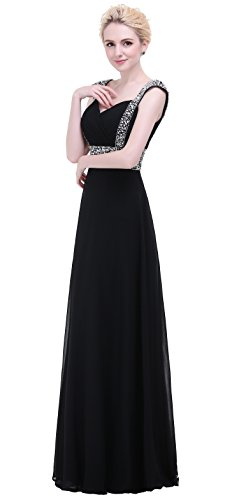 Bridesmaid Line Beading Long Chiffon A Bislu Evening Gown Prom Black Dress EqTwwXSxtn