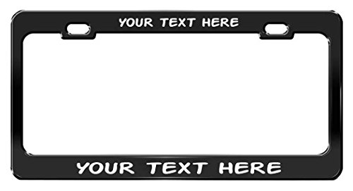 - CUSTOM PERSONALIZED, Black Metal License Plate Frame, White Writing, Action Man