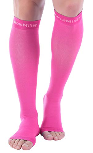 Doc Miller Open Toe Compression Socks 1 Pair 15-20 mmHg Firm Graduated Support for Circulation Surgery Recovery Varicose Veins POTS (Pink, S)