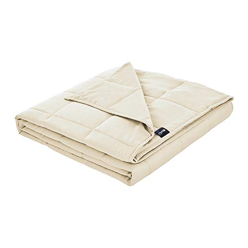 ZonLi Cooling Bamboo Weighted Blanket 60''x80'' Cream 15 lbs, Luxury 2.0 Queen Size Cool Adult Weighted Blankets for Summer, 100% Natural Bamboo Viscose Material with Glass Beads