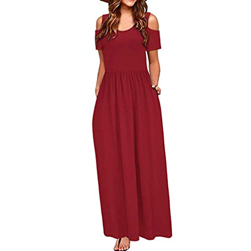 WOCACHI Womens Off Shoulder O Neck Pockets Maxi Dresses Solid Short Sleeve Ankle Length Dress Casual Loose Party Long Dress Pleated Swing Flowy A-Line Slim High Waist Girdle Tunic Dress
