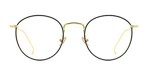 TIJN Women Metal Circle Eyeglasses Fashion Full Rim Round Thin Artist - Rimless Discount Eyeglasses
