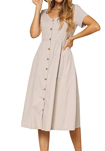 Women's Casual Button Down Short Sleeve Pockets Loose Flowy Midi Dress Apricot 12