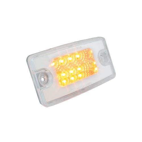 Grand General 76321 Amber Rectangular Spyder 8-LED Visor/Cab Marker Sealed Light with Clear Lens for Freightliner Century/Columbia
