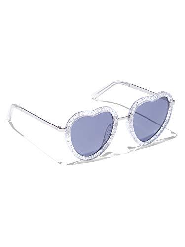 New York & Co. Women's Glitter Heart-Shaped Sunglasses 0 Clear