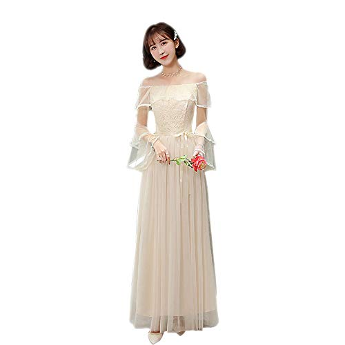 DAZISEN Womens Long Bridesmaid Dress Lace Slim Princess Party Dress Korea Style