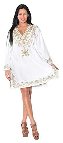 ricamato abbigliamento beachwear pi kimono scollo tutto profondo bagno costume La signore casual Leela salone rayon in tunica collo elastico da 1 top wUnvqg1I