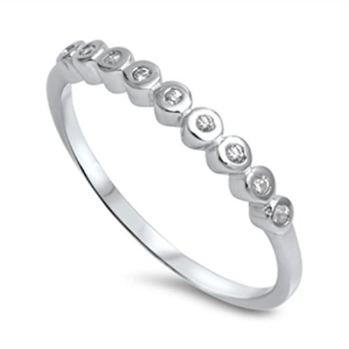 Band Eternity Half Bezel (2mm Half Eternity Wedding Engagement Band Ring Round Bezel Set Cubic Zirconia 925 Sterling Silver 4-10)