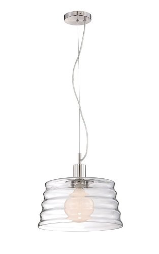 Lite Source Lighting Iron Pendant - Lite Source LS-19220PS/CLR Ceiling Lamp, Polished Steel with Clear Glass Shade