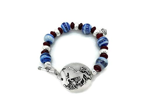 Palomino Horse Bracelet Charm Bangle Jewelry Gifts for Women and Girls Glass Beads (Blue)